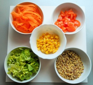 Bols ingrédients salade