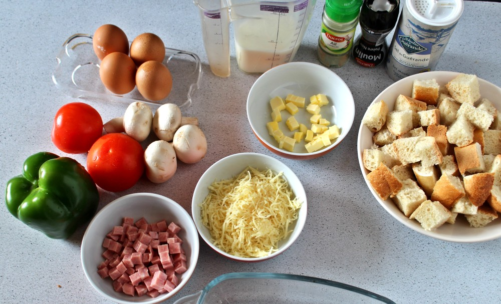 Ingredients-strata-au-jambon-poivron-et-champignons